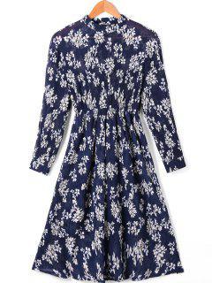 Blumendruck Taille Gefaltetes Kleid Mit Ärmeln - L