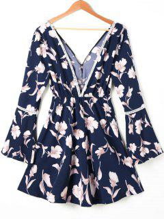 Hollow Out Floral Print Flare Sleeve Dress - S