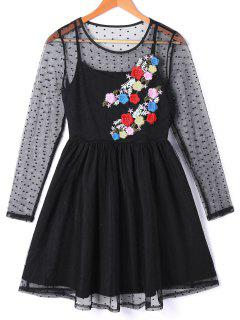 See Thru Floral Embroidered Overlay Dress - Black L