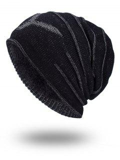 Double-Deck Thicken NY Knit Hat - Black