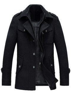 Epaulet Design Wool Blend Faux Twinset Jacket - Black Xl