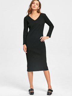 Long Sleeve Cut Out Ribbed Dress - Black 2xl