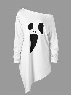 Halloween Plus Size Skew Neck Asymmetric Graphic Sweatshirt - White Xl