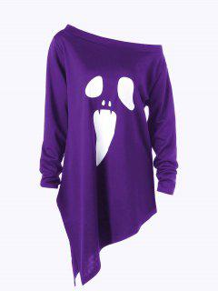 Halloween Plus Size Skew Neck Asymmetric Graphic Sweatshirt - Purple 4xl