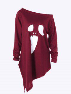 Halloween Plus Size Skew Neck Asymmetric Graphic Sweatshirt - Wine Red 5xl
