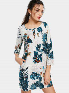 Leaves Print Dress With Invisible Pockets - Blackish Green M