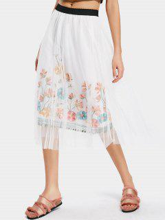 High Waist Floral Mesh Panel Skirt - White