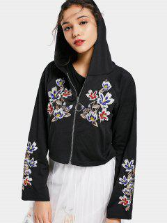 Floral Patched Zip Up Hoodie - Black