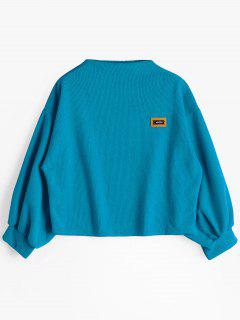 Badge Patched Lantern Sleeve Sweatshirt - Blue
