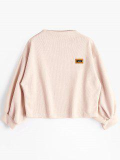 Badge Patched Lantern Sleeve Sweatshirt - Light Pink