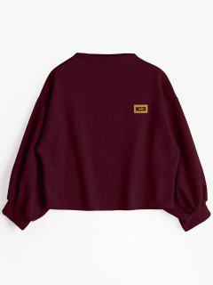 Badge Patched Lantern Sleeve Sweatshirt - Wine Red