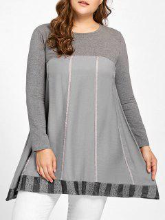 Plus Size Striped Trapeze T-shirt - Gray