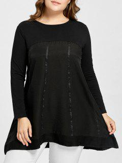 Plus Size Striped Trapeze T-shirt - Black
