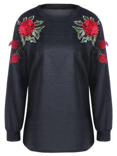 Floral Embroidery Sweatshirt - Black Xl