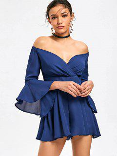 Flare Sleeve Off The Shoulder Romper With Flounce - Blue 2xl