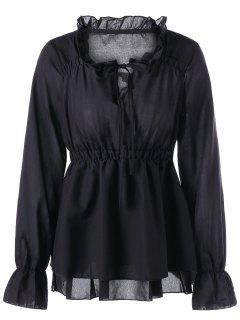 Ruffle Collar Peplum Blouse - Black Xl