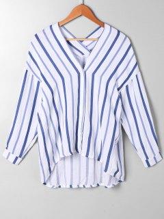 High Low Drop Shoulder Striped Blouse - Blue Stripe Xl