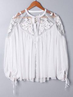 Blusa De Gran Tamaño Bordada Floral Del Panel Del Cordón - Blanco 2xl