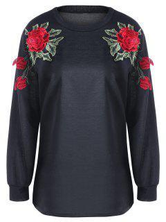 Floral Embroidery Sweatshirt - Black 2xl