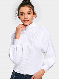 Lantern Sleeve Mock Neck Sweater - White