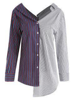 Contrast Striped Asymmetrical Plus Size Blouse - 4xl