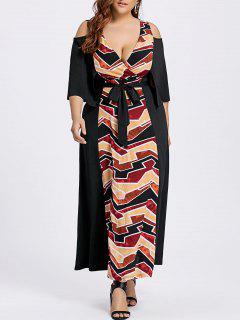 Ankle Length Plus Size Cold Shoulder Dress - Black 5xl