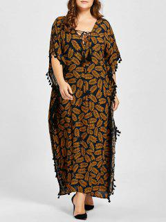 Plus Size Lace Up Tassel Leaf Print Poncho Dress - Dark Camel 3xl