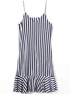 Flounce Drop Waist Striped Cami Dress - Stripe M