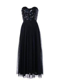 Strapless Sequin Maxi Party Evening Dress - Black M