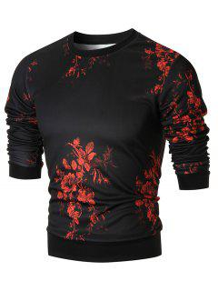 Slim-fit Floral Print Crew Neck Sweatshirt - 2xl