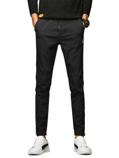 Applique Drawstring Beam Feet Jogger Pants - Black 30
