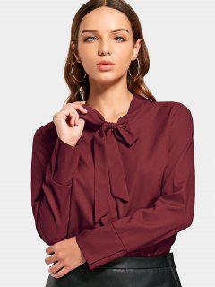 Bowtie Collar Corte Alta Blusa Baja - Vino Rojo Xl