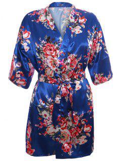 Floral Wrap Satin Sleepwear Kimono - Blue S