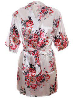 Floral Wrap Satin Sleepwear Kimono - White L