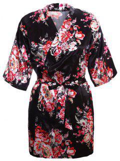 Envoltura Floral Satén De Dormir Kimono - Negro M