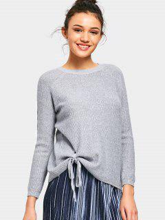 Raglan Sleeve Bowknot Sweater - Gray