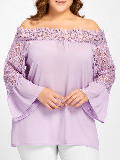 Plus Size Aus Der Schulter Lace Panel Bluse - Lila 5xl