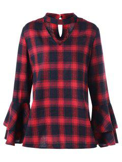 Plus Size Plaid Flare Sleeve Choker Blouse - Red With Black 5xl