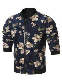 Zip Up Floral Corduroy Jacket - Cadetblue 5xl