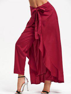 Tie Front Ruffle Skirted Pants - Wine Red L
