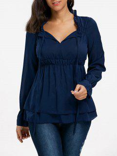 Ruffled Neck Flounce Chiffon Blouse - Purplish Blue M