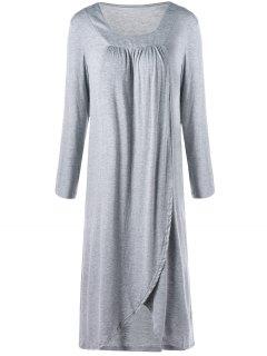 Square Neck Asymmetrical Midi T-shirt Dress - Gray 2xl