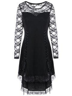 Halloween Lace Yoke Lace Up Cocktail Dress - Black 2xl