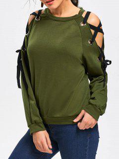 Raglan Sleeve Lace Up Pullover Sweatshirt - Army Green Xl