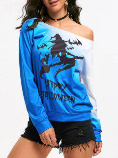 Witch Happy Halloween One Shoulder Ombre Sweatshirt - Blue L