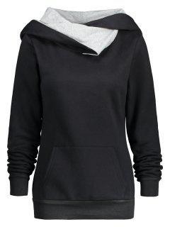 Mock Neck Kangaroo Pocket Hoodie - Black S
