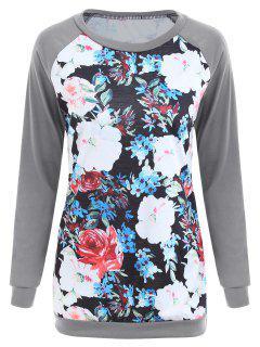 Raglan-Hülse Blumen-Druck-Tunika-T-Shirt - Grau L