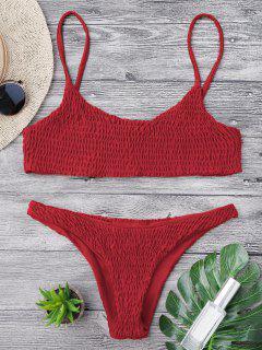 Top Et Bas De Bikini Smockés - Rouge L