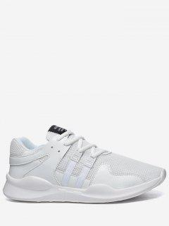 Round Toe Low Top Mesh Sneakers - White 41