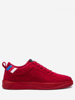 Color Block Canvas Skate Shoes - Red 39